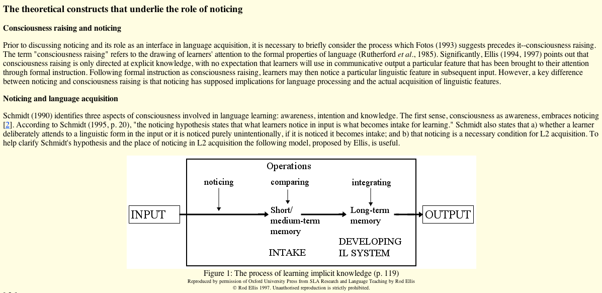 noticing hypothesis Noticing and language learning let me make it clear, though, that i'm not yet ready to commit intellectually to this particular noticing hypothesis.